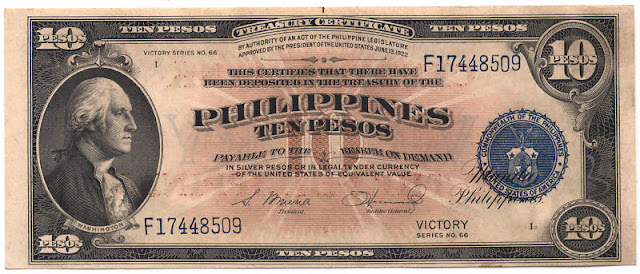 Philippine banknotes 10 Pesos Victory note George Washington