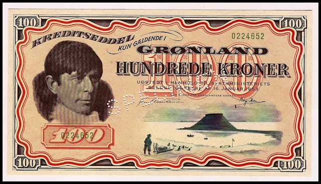 Greenland Paper money currency 100 kroner banknote