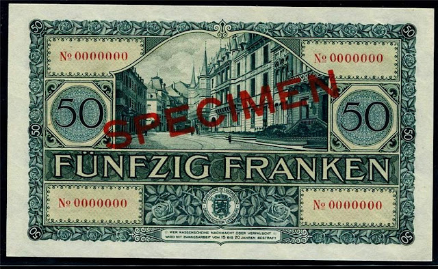 Luxembourg 50 Francs BankNote European Currency