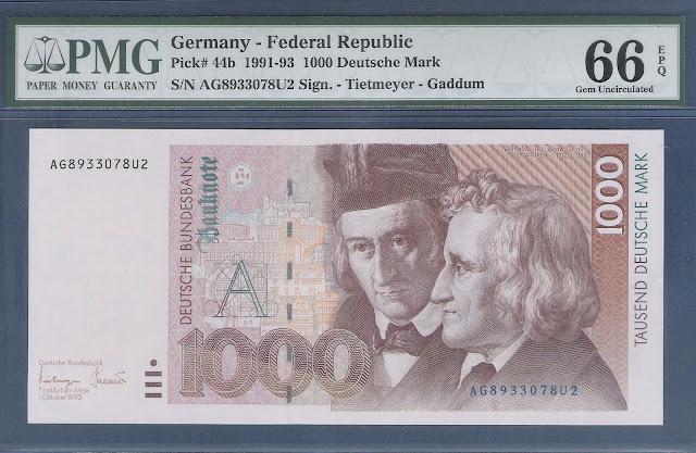 German money currency 1000 Deutsche Mark banknote Brothers Grimm