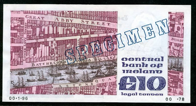 IRELAND currency 10 pounds banknote paper money collection