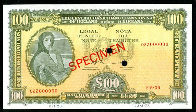 Ireland currency Irish 100 Pounds bank note Lady Lavery banknotes collection