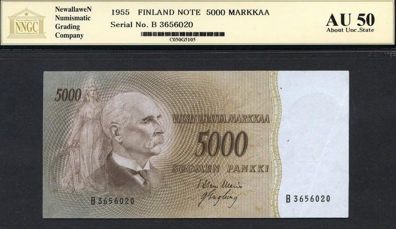 Finland 5000 Finnish Markkaa Banknote 1955 World Banknotes