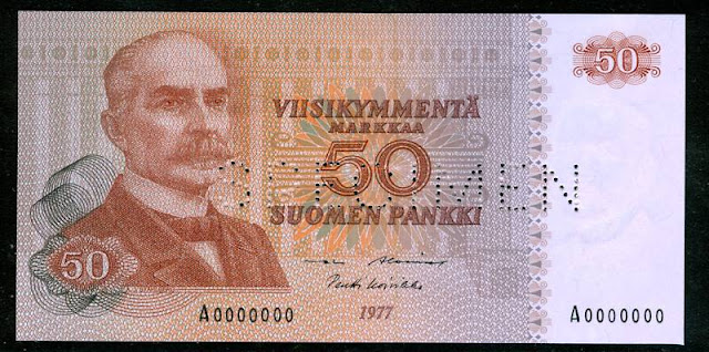 Collectible Banknote FINLAND 50 MARKKAA SPECIMENbanknotes pictures