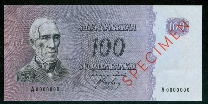 Suomi Currency 100 Markkaa Specimen Banknote World