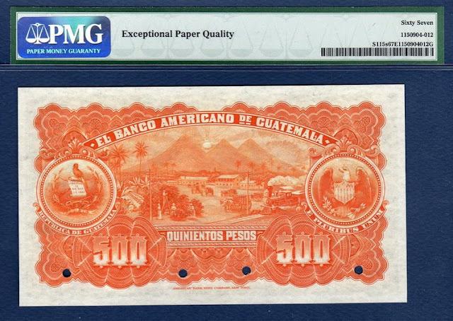 Guatemala 500 Pesos Specimen banknote Notafilia Numismática collecting paper money Papiergeld billete