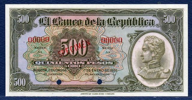Colombia pictures money 500 Pesos Specimen Notafilia Numismática collecting paper money Papiergeld billete