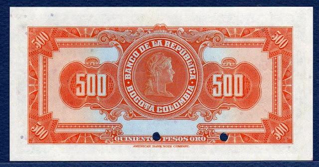 Colombia antique money 500 Pesos Specimen Mariana Liberty Notafilia Numismática collecting paper money Papiergeld