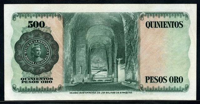 Colombia Billete 500 Pesos oro Notafilia Numismática collecting paper money Papiergeld