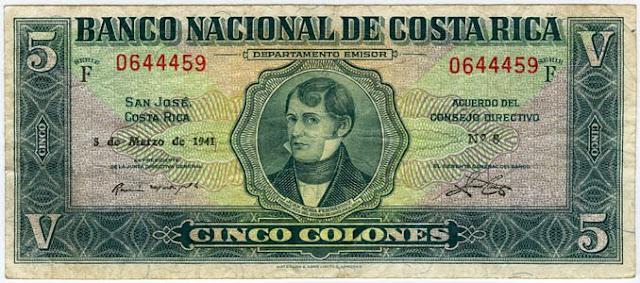 COSTA RICA 5 COLONES Notafilia Numismática collecting paper money