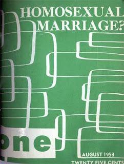 ONE Magazine Aug. 1953 'Homosexual marriage?' cover headline