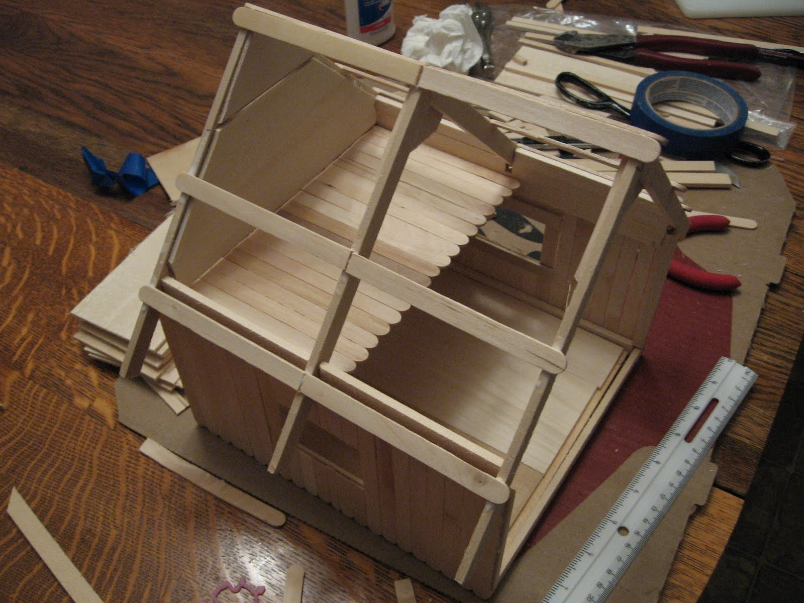 Popsicle Stick House Floor Plans Almost Unschoolers Basswood And Popsicle Stick Doll House