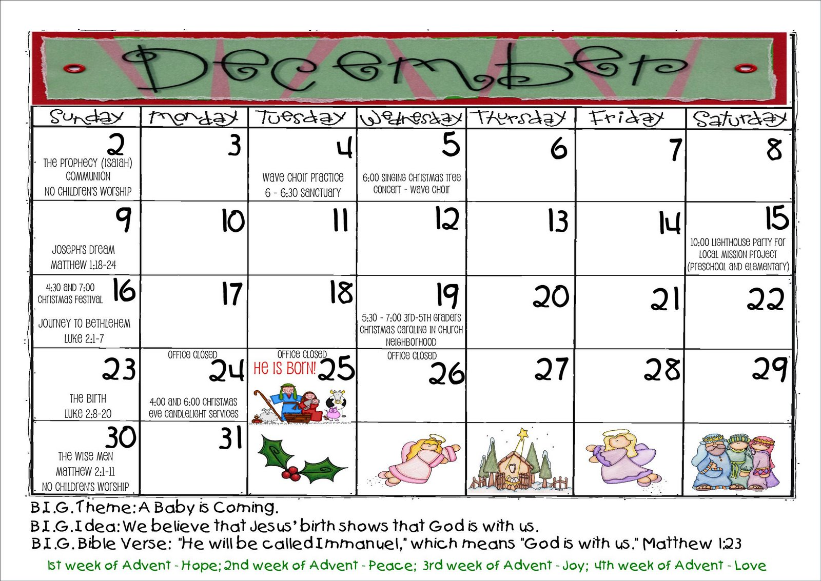 December Calendar Kindergarten : Christ united sunday preschool december calendar