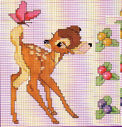 Punto croce bambi 14 for Schemi gratis punto croce disney
