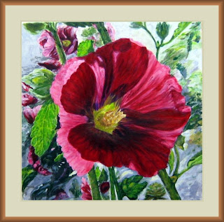 red hollyhock flower-acrylic painting