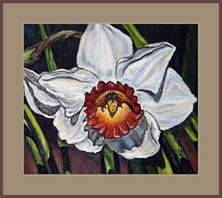 white narcissus flower-oil painting