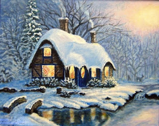 winter scene with a cozy cottage near the forest
