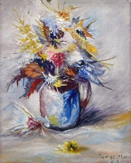 Floral oil painting with fantasy flowers
