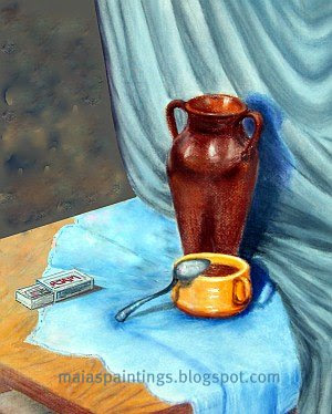 Still life with drapery,a coffee cup and a vase