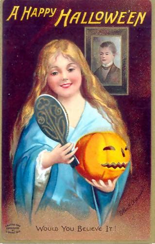 blond girl with pumpkin