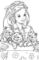 Barbie con gatitos para pintar