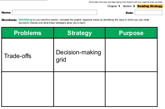 what is the purpose of a decision making grid