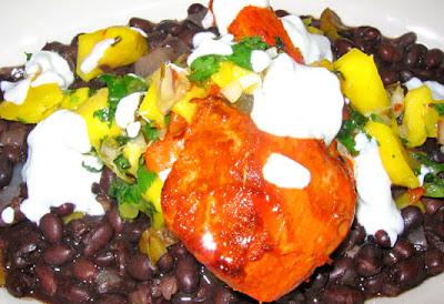 ... Achiote Chicken with Black Beans, Mango Salsa and Lime Crème fraiche