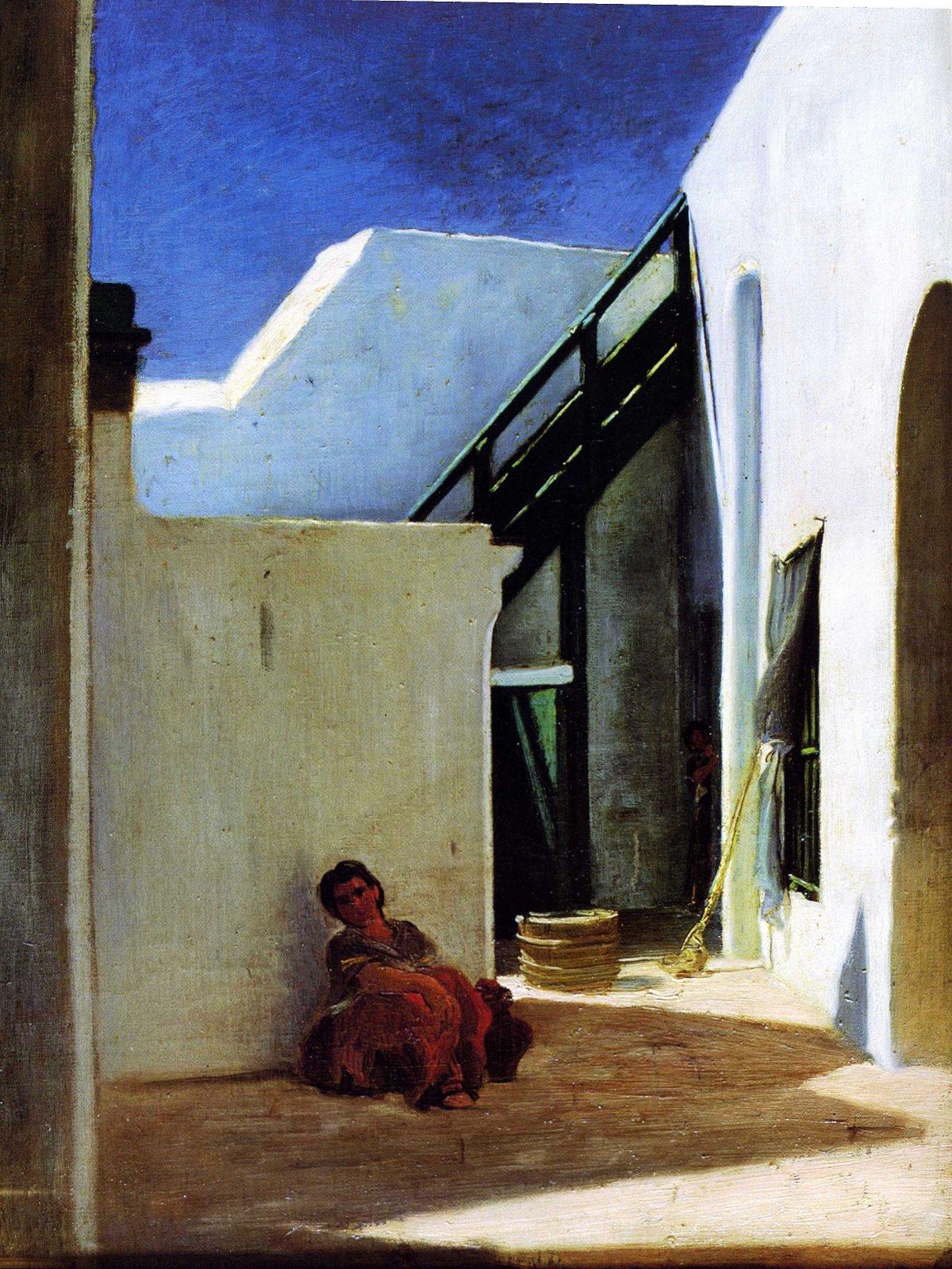 [Alfred+Dehodencq.++Interior+of+a+Moroccan+Courtyard,+1860..jpg]