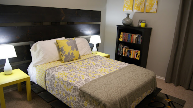 living small yellow and gray bedroom
