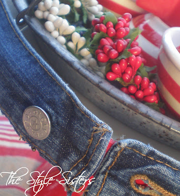 Denim Cake plate DIY- The Style Sisters, red white and blue tablescape, Memorial Day Table decor, 4th of July table decor,  Red white and Blue