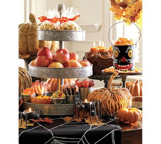 pottery barn 3 tier tin centerpiece for fall,