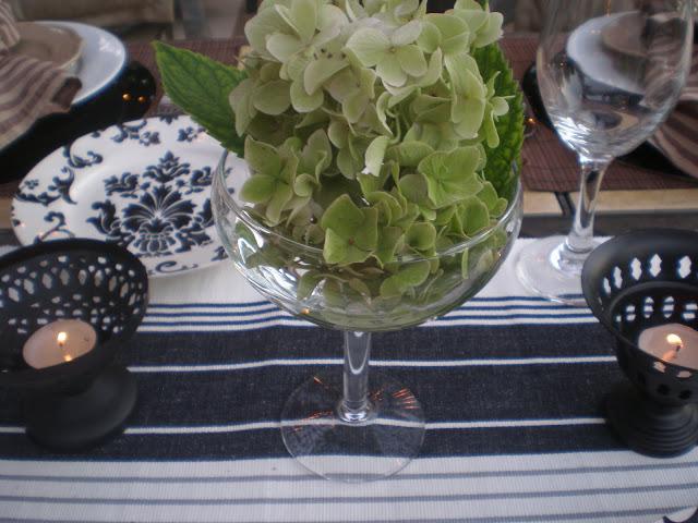 Green hydrangea centerpice