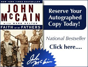 Get your autographed copy of John McCain's book Faith of My Fathers