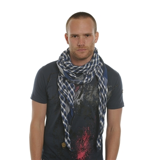Most men's scarves are approximately 10 inches wide, 70 inches long, and made from either a solid or patterned cut of cloth designed to wrap around the neck. In .