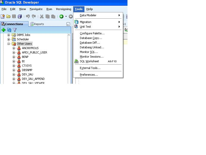 Welcome to the database wizard!: SQL Developer