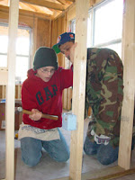 Kyloe and RJ working on a Habitat home