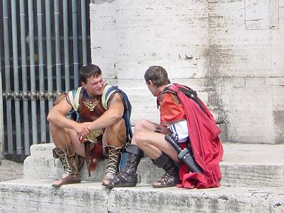Gladiator impersonators on break at in Rome