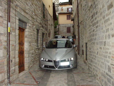 Our car on the street in front of our apartment in Italy