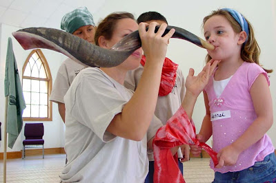 Blowing a shofar