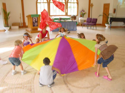Playing with a parachute
