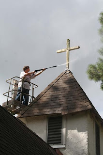 cleaning the steeple