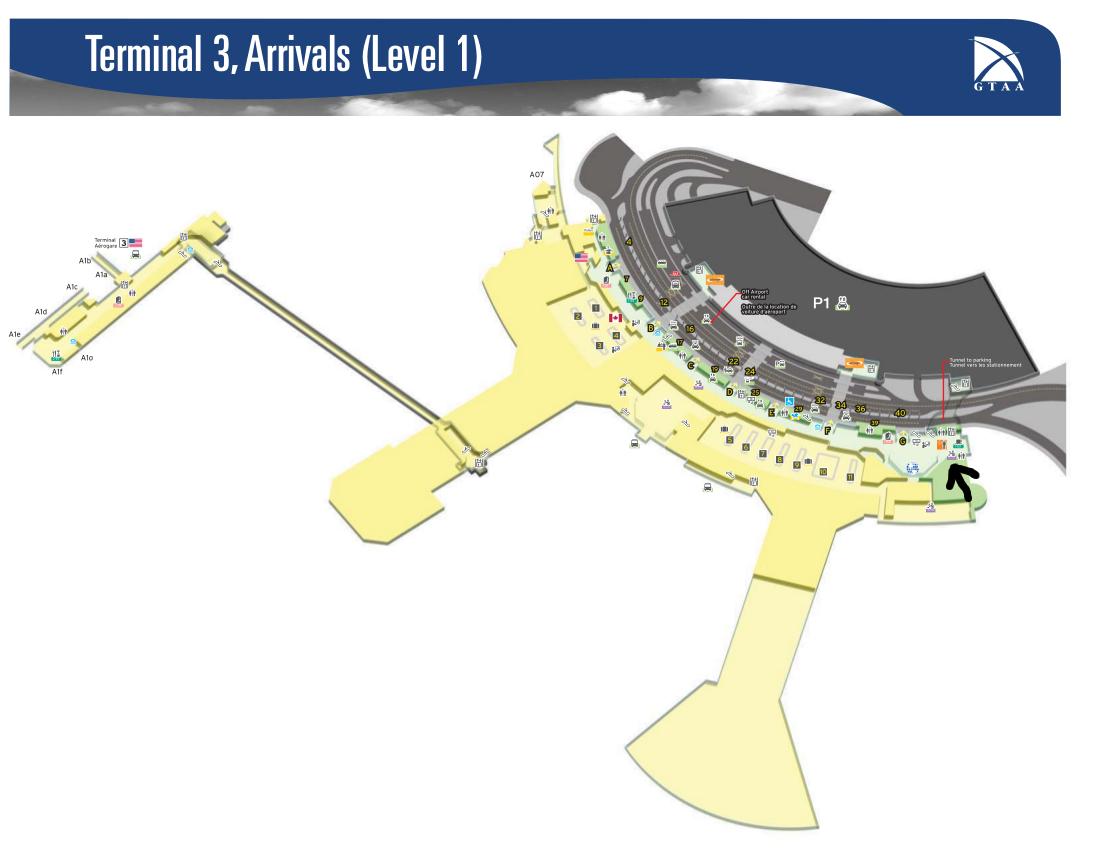 Toronto Pearson Airport Terminal 1 Map Toronto Pearson Airport Map