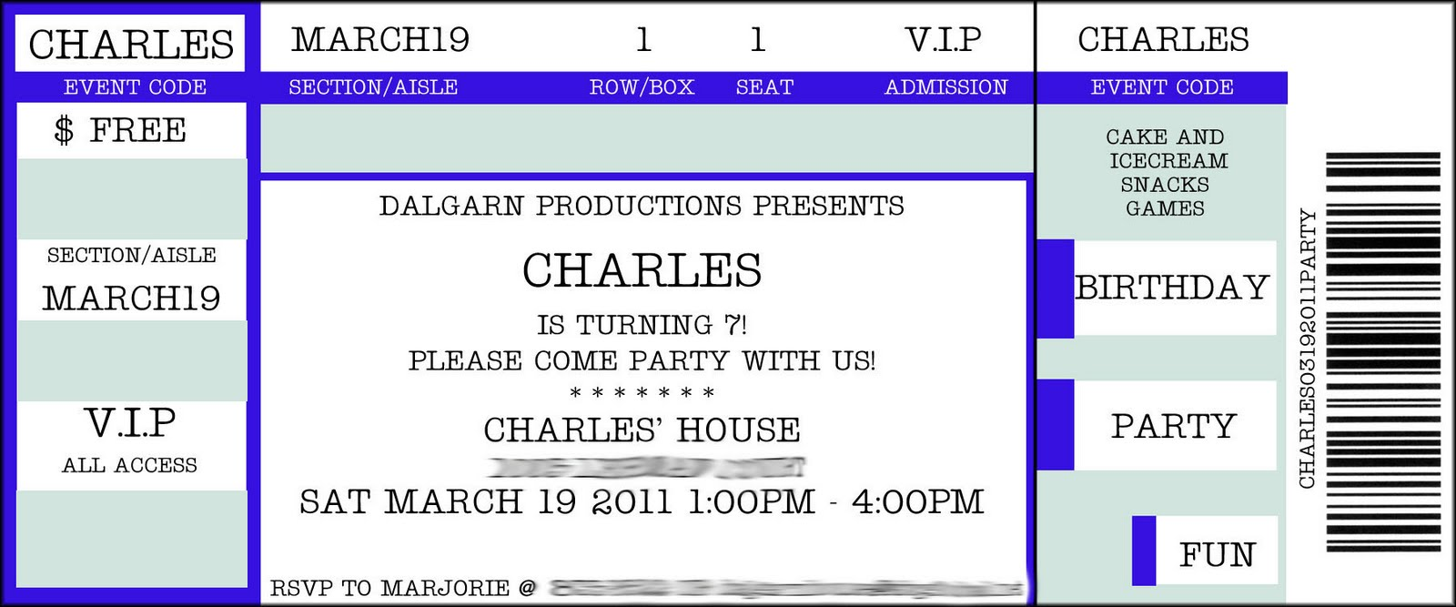 fake concert ticket template