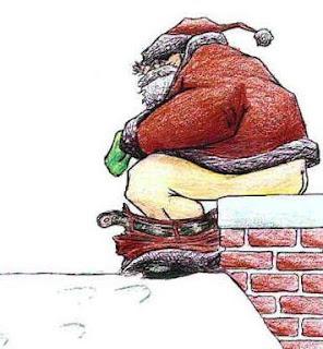 Santa leaving a present