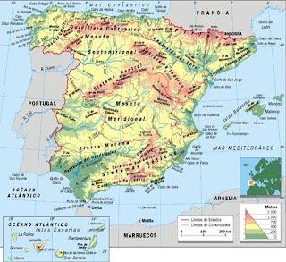 Sierra Morena Mapa Fisico.Las Cosas Del Estudiante Mapa Fisico De Espana