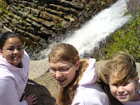 Brina Kimberly and Emily at Top of Waterfall at Hopewell Lake