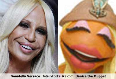 Fashion designer Donatella Versace totally looks like Janice the Muppet — Submitted by Julia