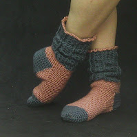 Blue and Pink house socks...warm and cozy!