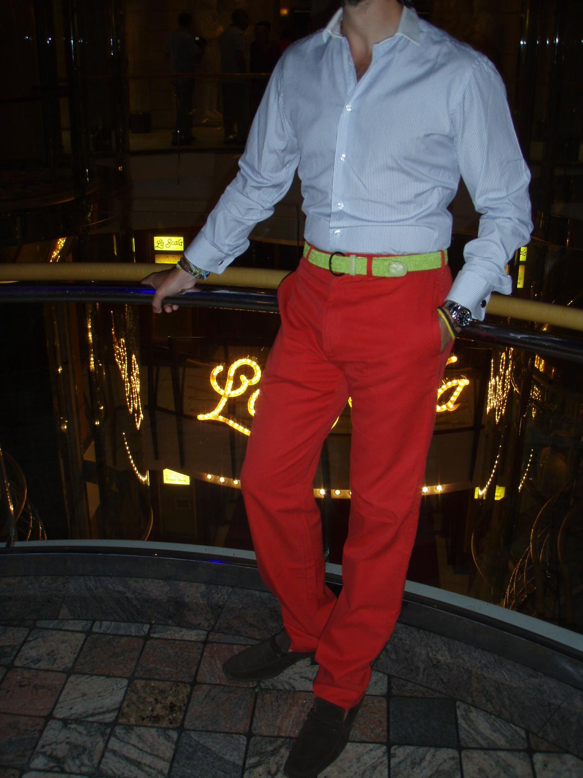 Gorgeous Styles Moda Hombre Pantalon Rojo Camisa De Vestir