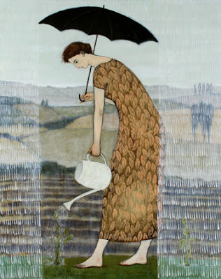 'Gardening in the Rain' by Brian Kershisnik